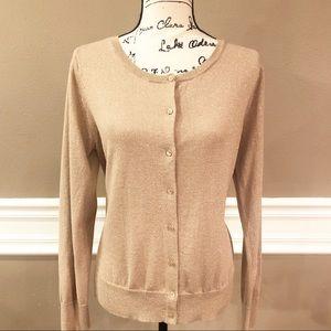 Ann Taylor LOFT Gold Shimmer Sweater, Size Large